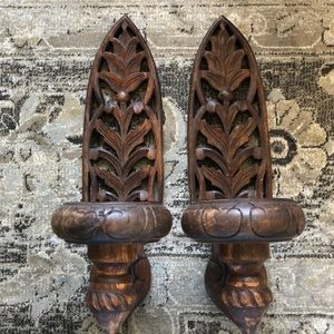 Beautiful wood carved wall sconces